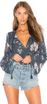 The Jetset Diaries Iman Surplice Top in Navy. - size L (also in M,S,XS)