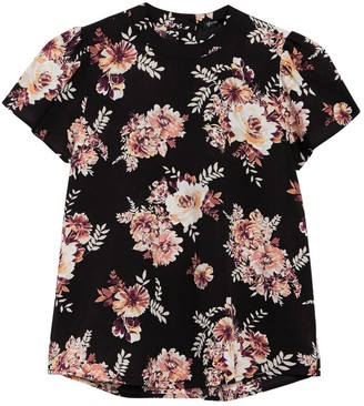 Gibson Floral Crew Neck Crepe T-Shirt