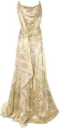 Oscar de la Renta wrap-around satin gown
