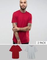 Asos Longline T-Shirt With Curved Hem 2 Pack
