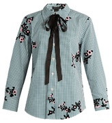Marc Jacobs Floral-flocked gingham blouse