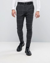 Selected Super Skinny Suit Pants In Grid Check