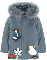 Yves Salomon Embroidered parka with removable fur
