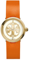 Tory Burch 28mm Reva Leather-Strap Watch, Orange/Golden