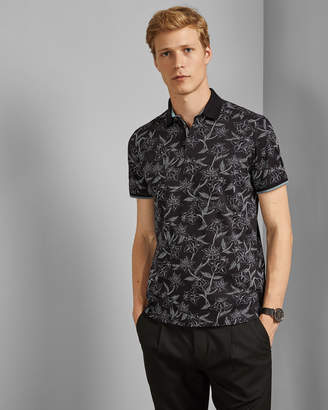 Ted Baker VILLER Floral printed cotton polo shirt