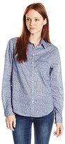 Dockers Women's Petite Essential Perfect Pattern Button Down Shirt
