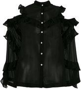 Robert Rodriguez cut-out shoulders ruffled shirt - women - Silk - 2