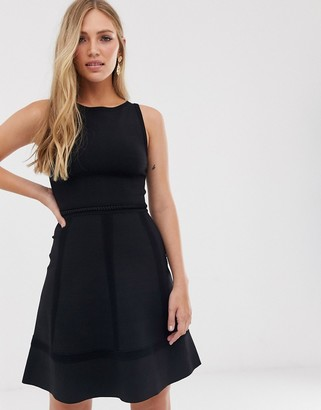 French Connection fit and flare dress-Black