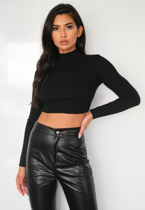 Missguided Black Knitted High Neck Ribbed Crop Top