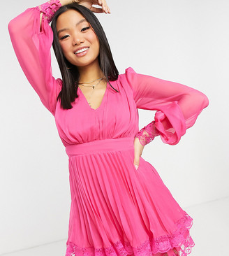 ASOS DESIGN Petite Exclusive pleated skater mini dress with lace detail in hot pink