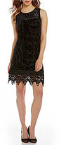 Cupio Velvet Burnout Crochet Lace Dress