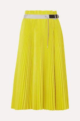 Sacai Pleated Mesh Wrap Midi Skirt - Yellow