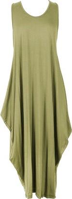 janisramone Womens Ladies New Italian Lagenlook Tulip Parachute Dress Stretchy Sleeveless Long Tunic Top Grey