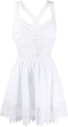 Charo Ruiz Ibiza Broderie-Panelled Poplin Dress
