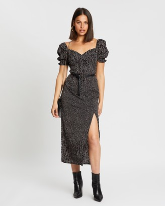 Missguided SS Sprinkle Milkmaid Tie Bust Midi Dress