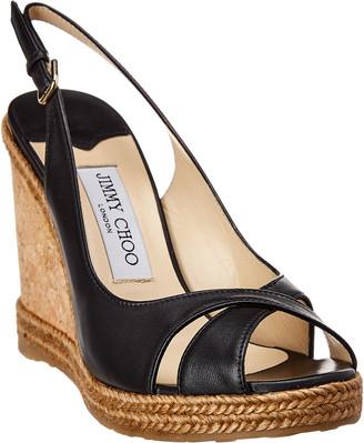 Jimmy Choo Amely 105 Leather Wedge Sandal