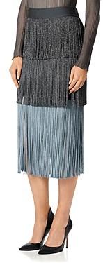 Herve Leger Tri Color Fringe Skirt