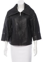 Love Moschino Leather Funnel Collar Jacket