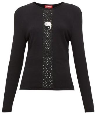 STAUD Crochet-knit Long-sleeve Top - Womens - Black