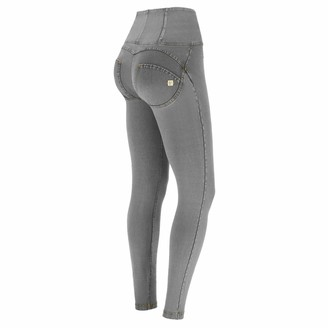 Freddy WR.UP high-Rise Skinny-fit Trousers in Denim-Effect Fabric - Gray Jeans-Yellow Seams - Small