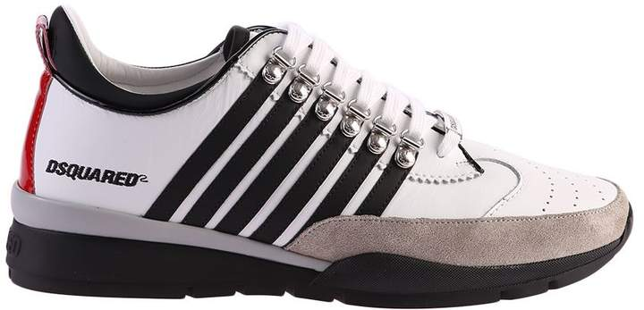 DSQUARED2 White And Bleck Striped Sneakers