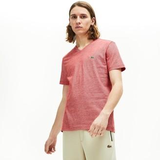 Lacoste Mens Regular Fit V-neck Stripe Pima Cotton T-shirt