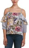 Tracy Reese Cold-shoulder Silk Top.