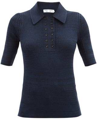 Proenza Schouler White Label Double-placket Silk-blend Polo Shirt - Navy Multi