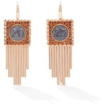 Francesca Villa Pure Numbers Sapphire & 18kt Rose-gold Earrings - Orange