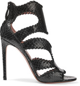Alaia Whipstitched python sandals
