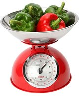 Dexam 5 Kg Stainless Steel Retro Kitchen Scales with a Large Bowl, Red