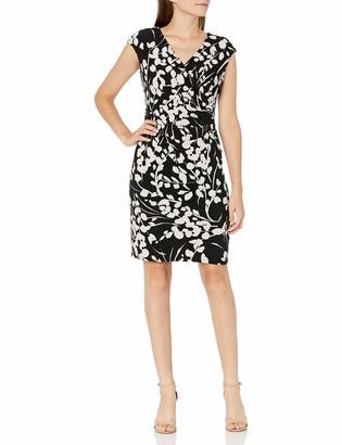 Kasper Women's Painted Floral Print Knit V Neck Cap Sleeve Dress
