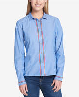 Tommy Hilfiger Cotton Striped Peplum Shirt, Created for Macy's