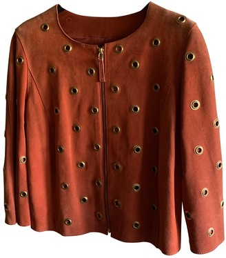 Non Signé / Unsigned Non Signe / Unsigned Orange Suede Leather Jacket for Women