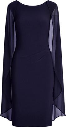 Ralph Lauren Georgette-Cape Cocktail Dress