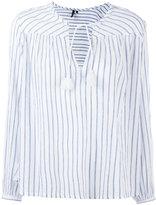Woolrich striped tassel-tie blouse