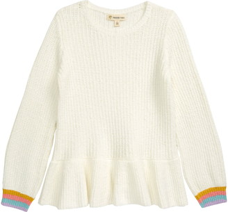 Tucker + Tate Stripe Cuff Peplum Cotton Blend Sweater