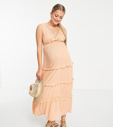 Thumbnail for your product : ASOS Maternity ASOS DESIGN Maternity sleeveless tiered crinkle maxi dress with lace inserts in peach