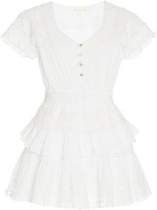 LoveShackFancy Jeromie Smocked Cotton Mini Dress
