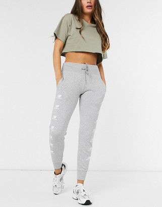 New Balance stacked logo sweatpants in gray