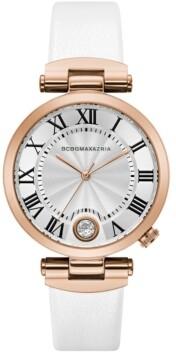 BCBGMAXAZRIA Ladies Round White Genuine Leather Strap with T Bar Attachment Watch, 38mm