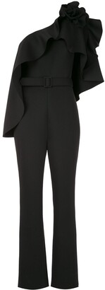 Badgley Mischka asymmetric Rosette jumpsuit