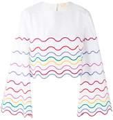 Sara Battaglia wave patterned blouse