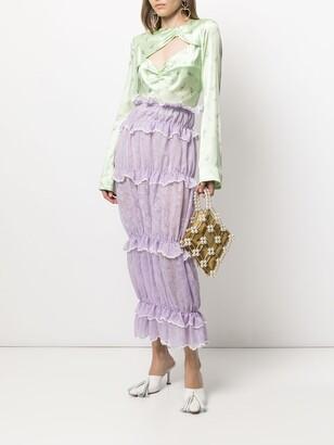 yuhan wang Ruffled Full-Length Lace Skirt