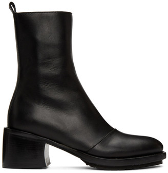Ann Demeulemeester Black Leather Heel Combat Boots