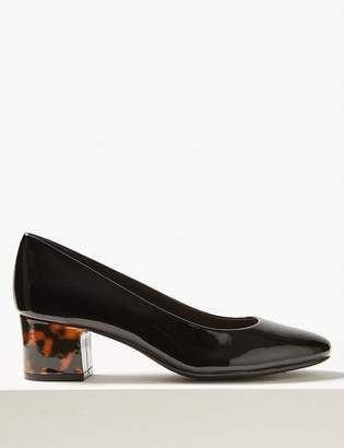 M&S CollectionMarks and Spencer Patent Block Heel Court Shoes