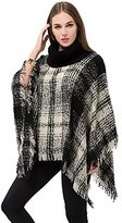 OTIOTI Womens Knitted Poncho Cape Pullover Sweater Turtleneck Tassel Winter Shawl