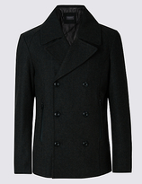 Limited Edition Slim Fit Texture Peacoat With Wool