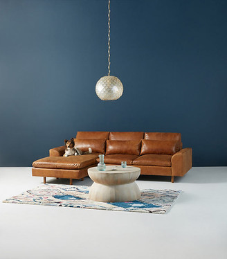 """Anthropologie Mirren Reversible Leather Chaise Sectional By in Assorted Size 102"""""""