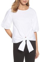 Gibson Women's Bubble Sleeve Tie Front Top